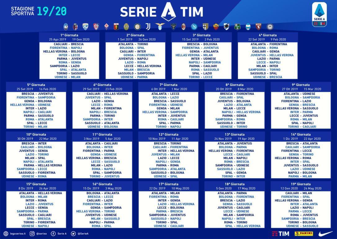 Anticipi e posticipi delle prime due giornate di Serie A 2019-20